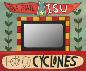"""Let's Go Cy"" Picture Frame – ""Let's Go Cyclones!"" artisan printed picture frame honoring Iowa State University front view"