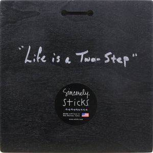 """Life is a Two Step"" Plaque – Beautiful artisan printed plaque with boots and flower, ""Kick Up Your Heels"" back view"