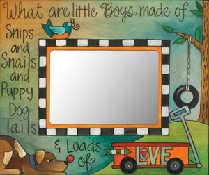 """Loads of Love"" Picture Frame – Beautiful artisan printed picture frame with Little Boys theme front view"