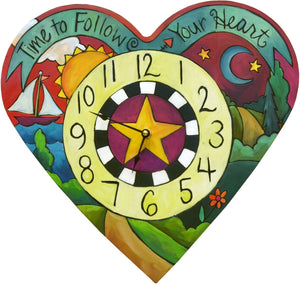 """Loving Time"" Heart Clock – A landscape design fills this heart shaped clock front view"
