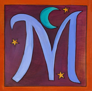"Sincerely, Sticks ""M"" Alphabet Letter Plaque option 1 with moon and stars"