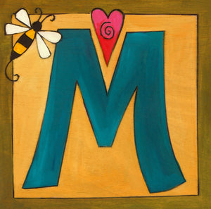 "Sincerely, Sticks ""M"" Alphabet Letter Plaque option 2 with heart and bee"