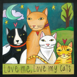 """Meow-zah!"" Plaque – ""Love me, love my cats"" kitty cat plaque motif front view"
