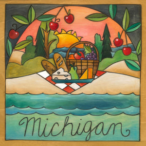 """Michigan is a Banquet"" Plaque – ""Michigan"" plaque with picnic on the beach under the sunset motif front view"