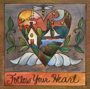 """My Heart's at the Lake"" Plaque – A landscape with a lake sits inside of a heart with wings front view"
