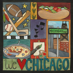 """My Kind of Town"" Plaque – Classic crazy quilt motif of Chicago icons front view"