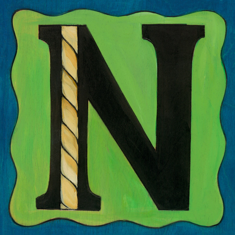 "Sincerely, Sticks printed letter ""N"" plaque, option 1"
