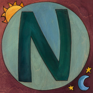 "Sincerely, Sticks ""N"" Alphabet Letter Plaque option 2 with sun and moon"