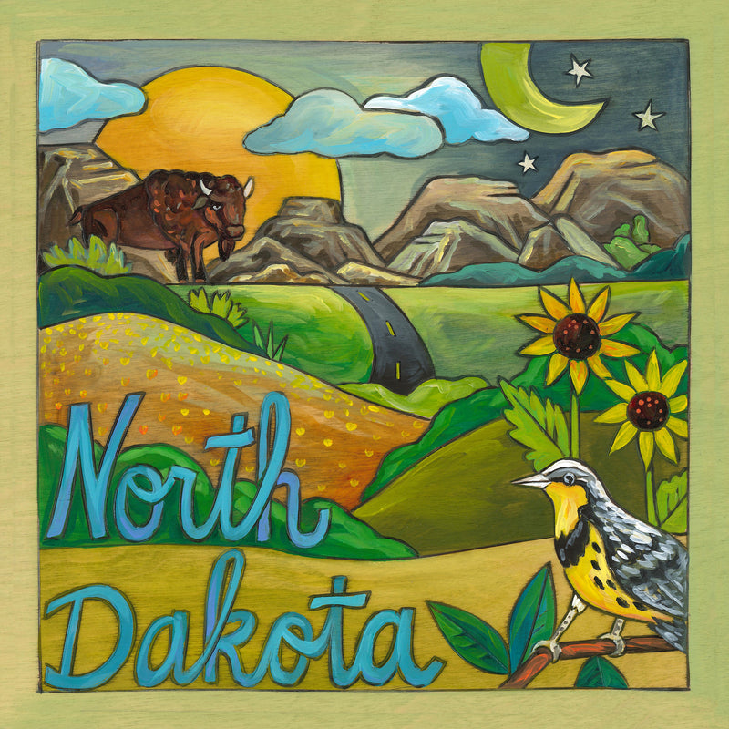 """North Dakota"" prairie landscape plaque with a bison and meadowlark critters"