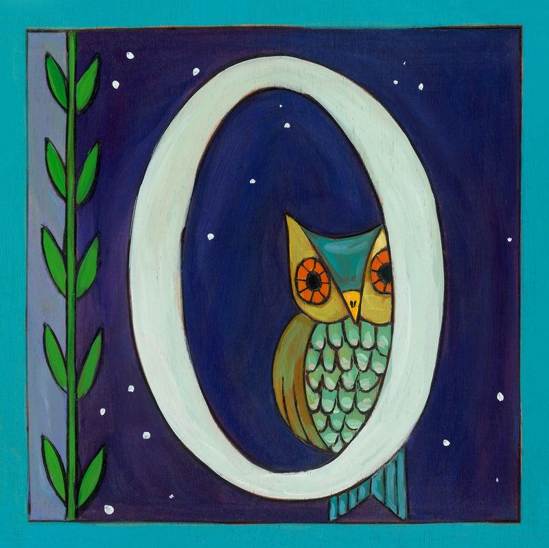 "Sincerely, Sticks ""O"" Alphabet Letter Plaque option 1 with owl and vine"