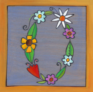 "Sincerely, Sticks ""O"" Alphabet Letter Plaque option 2 written out in flowers"