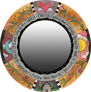 """Oh So Pretty"" Mirror – Charming floral vine mirror motif in a warm color palette and black and white accents"