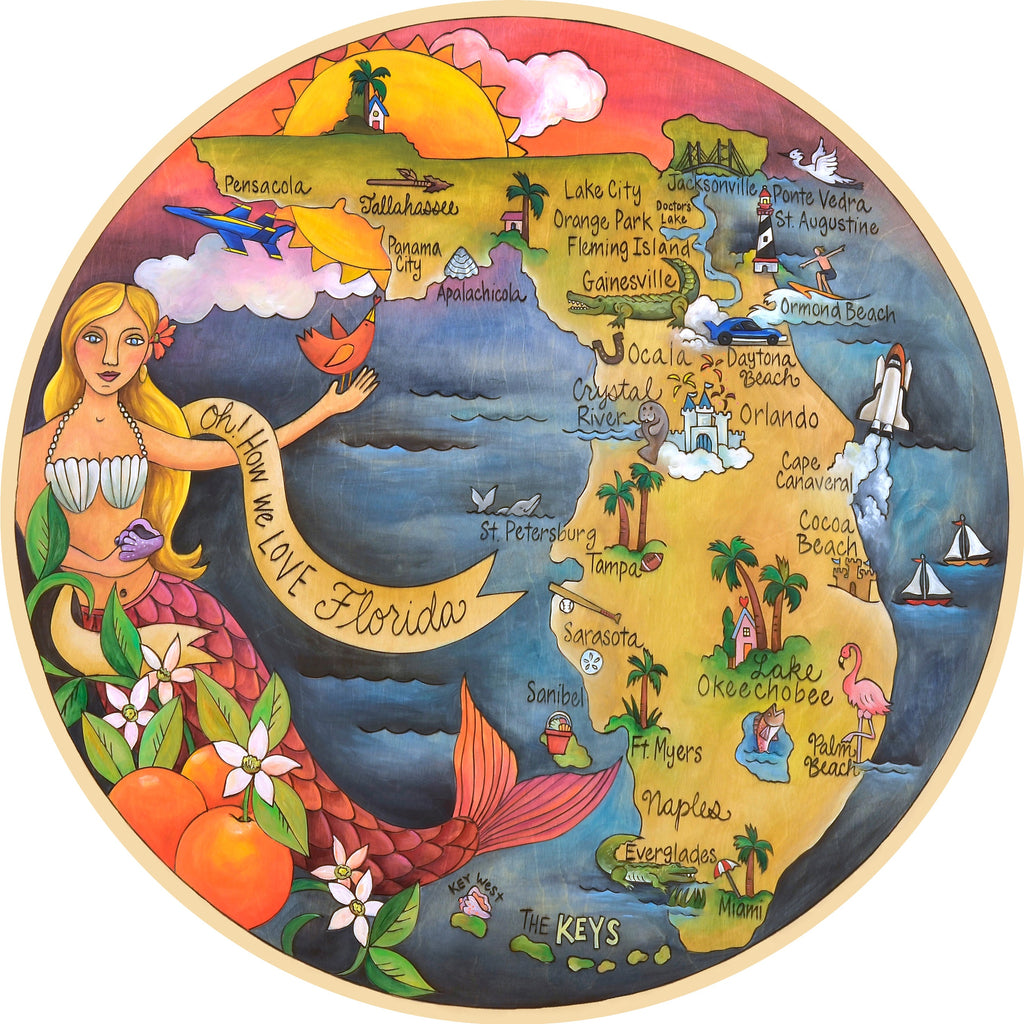 A Sincerely, Sticks printed lazy susan with a mermazing design giving us the lay of the land of the great Sunshine State