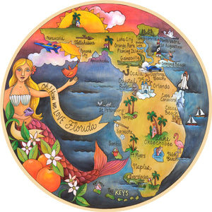 """Oh, How We Love Florida"" Lazy Susan – A mermazing design giving us the lay of the land of the great Sunshine State front view"