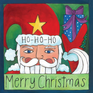 """Oh What Fun"" Plaque – ""Merry Christmas"" artisan printed holiday plaque with Santa! front view"