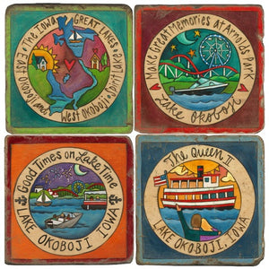 Encircled summer scenes from the Iowa Great Lakes coaster set