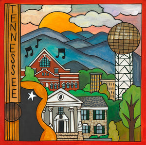 """Ol' Rocky Top"" Plaque – ""Tennessee"" plaque design with Memphis and Knoxville landmarks in a beautiful mountainous landscape front view"