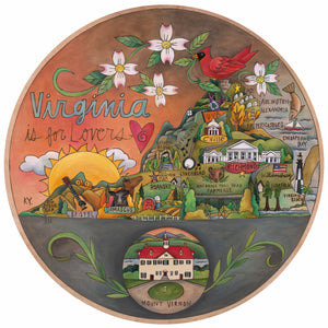 """Old Dominion"" Lazy Susan – ""Virginia is for lovers"" lazy susan with state outline and a featured Mount Vernon estate"