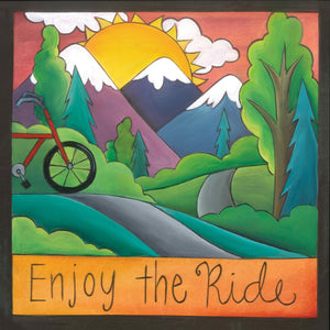 """Open Road"" Plaque – ""Enjoy the Ride,"" bicycle plaque, artisan printed with mountain landscapes front view"