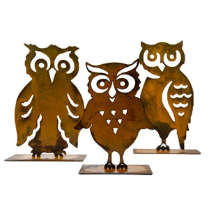"Horned Owl Sculpture – ""Owl"" you need for charming fall decor is this side profile owl sculpture that pairs great with pumpkin sculptures with other owls on a white background"