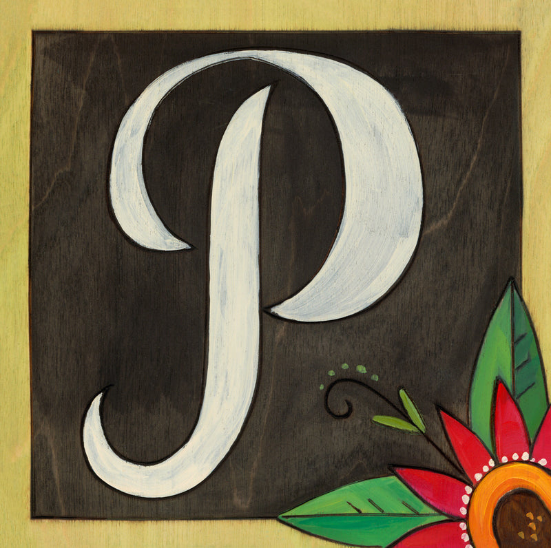 "Sincerely, Sticks printed letter ""P"" plaque, option 2"