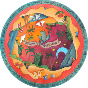 """Paradise City"" Lazy Susan – ""Welcome to Paradise"" lazy susan with beautiful sunny beach motif front view"