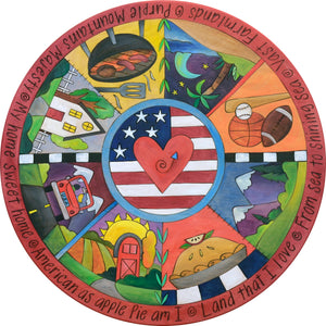 """Party in the USA"" Lazy Susan – An Americana pie piece design honoring the good old US of A front view"
