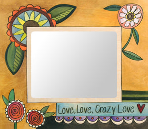 """Passionate Kisses"" Picture Frame – ""Love, Love, Crazy Love"" frame with floral motif on a yellow background front view"