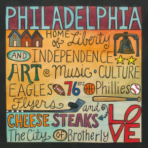 """Philadelphia Freedom"" Plaque – ""The City of Brotherly Love"" plaque with collage of words to describe Philadelphia front view"