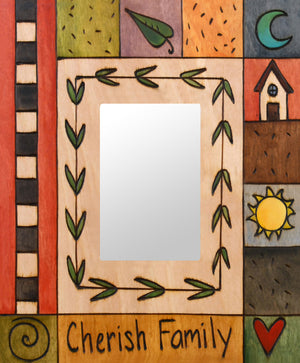 """Polly's Quilt"" Picture Frame – ""Cherish Family"" frame with sun, moon and home motif front view"