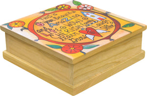 """Power of Positivity"" Keepsake Box – A contemporary floral design surrounds encouraging phrases main view"