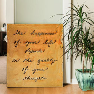 "Happiness Wall Art – Metal art sign with inscription ""the happiness of your life depends on the quality of your thoughts"" adds a touch of inspiration to your home"