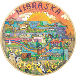 """Prairiedise"" Lazy Susan – A Nebraska landscape motif with rolling hills and prairie wildlife front view"