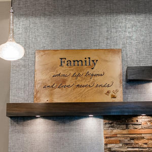 "Family Wall Art – Metal art sign with inscription ""where life begins and love never ends""makes the perfect addition for any room of your house or gift to a loved one"