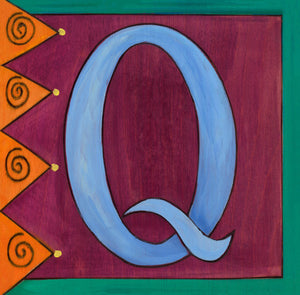 "Sincerely, Sticks ""Q"" Alphabet Letter Plaque option 1 with zig zags and swirls"