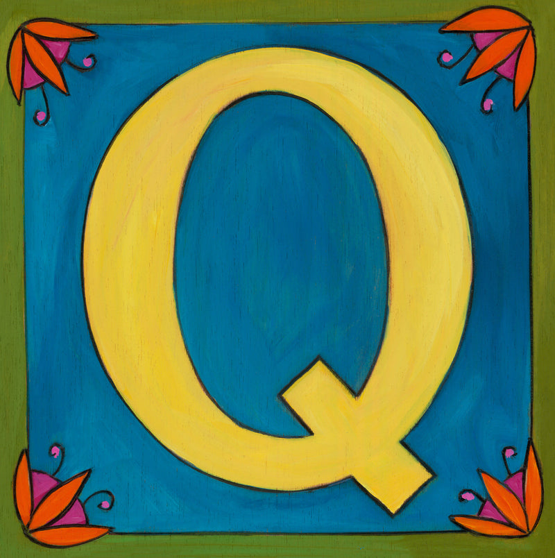 "Sincerely, Sticks printed letter ""Q"" plaque, option 2"