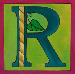 "Sincerely, Sticks ""R"" Alphabet Letter Plaque option 1 with rope and leaf"