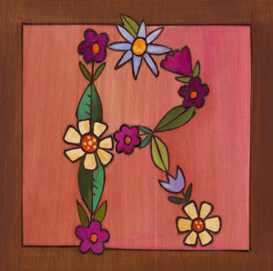 "Sincerely, Sticks ""R"" Alphabet Letter Plaque option 3 written out in flowers"