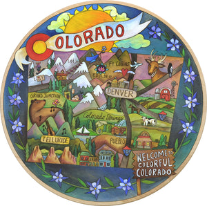 """Rocky Mountain High"" Lazy Susan – ""Welcome to Colorful Colorado"" lazy susan with Colorado inspired motif front view"