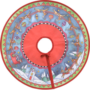 """Run, Run, Rudolph"" Tree Skirt – Rudolph and his reindeer crew circle around a starry-sky landscape on our canvas tree skirt top view"