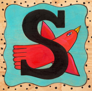 "Sincerely, Sticks ""S"" Alphabet Letter Plaque option 1 with red bird"