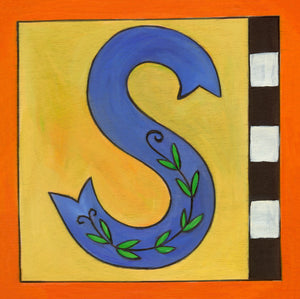 "Sincerely, Sticks ""S"" Alphabet Letter Plaque option 2 with vine and checks"