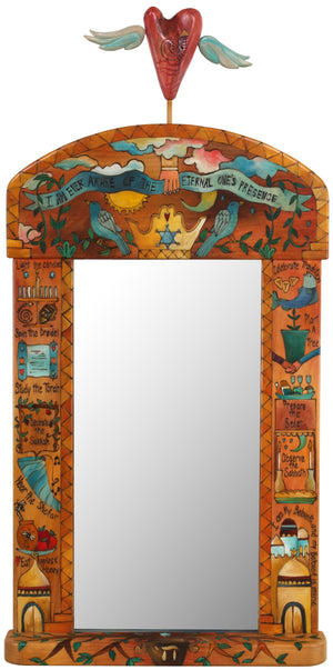 Large Mirror –  Beautiful warm Judaica mirror with floating icons cascading down the sides