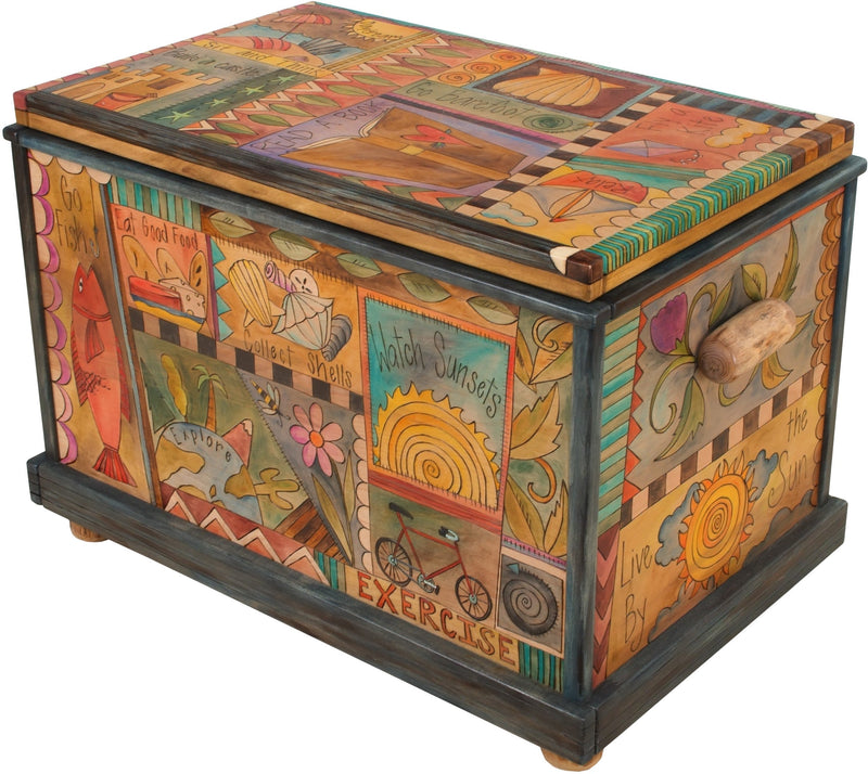"Chest –  ""Go Barefoot"" chest with nautically themed motif"