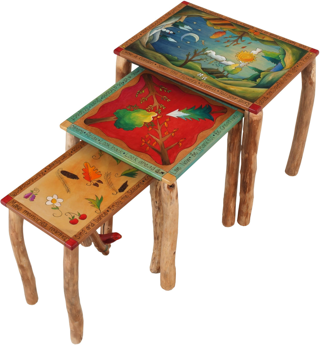 Nesting Table Set –  Lovely, contemporary nesting table set of three with four seasons motifs and birch legs