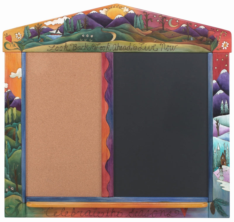 Sticks handmade activity board with corkboard and chalkboard