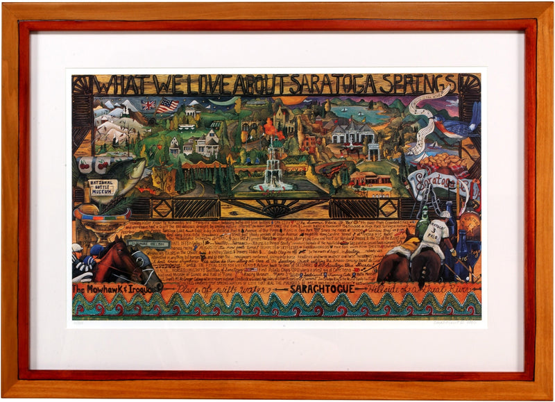 "Framed WWLA Saratoga Springs Lithograph –  ""What We Love About Saratoga Springs"" litho print in a handcrafted Sticks frame"