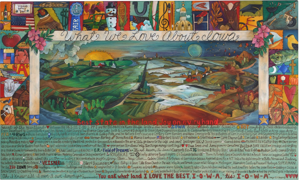"WWLA Iowa Plaque 2006 Edition–  ""What We Love About Iowa"" plaque with beautiful landscapes of the changing four seasons motif"
