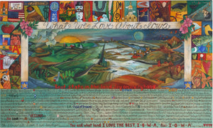 "WWLA Iowa Lithograph 2006 Edition –  ""What We Love About Iowa"" lithograph with sun and moon over beautiful landscapes of the changing four seasons motif"