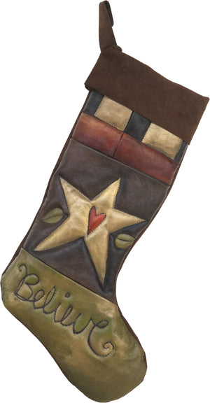"Leather Stocking –  ""Believe"" heart in star crazy quilt Christmas stocking"